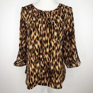 Anne Klein Leopard Print Button-Down Blouse